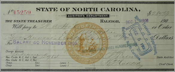 1904 paycheck of Chief Justice William A. Hoke