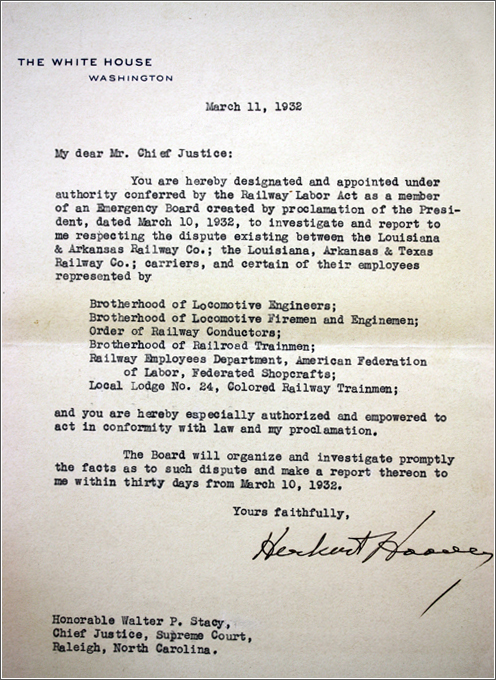 Stacy appointment from President Herbert Hoover